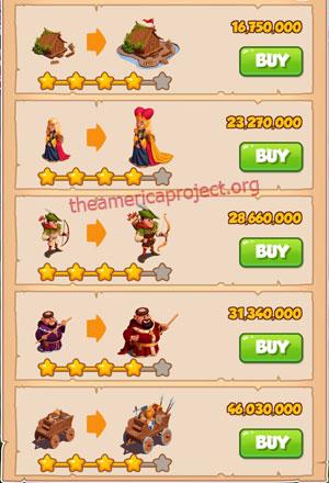 Coin Master Village 60: Robin Hood 5 Stars Price List