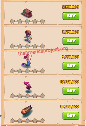 Coin Master Village 61: Deep Sea 1 Star Price List