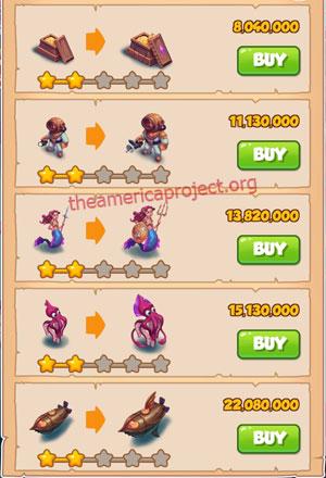 Coin Master Village 61: Deep Sea 3 Stars Price List