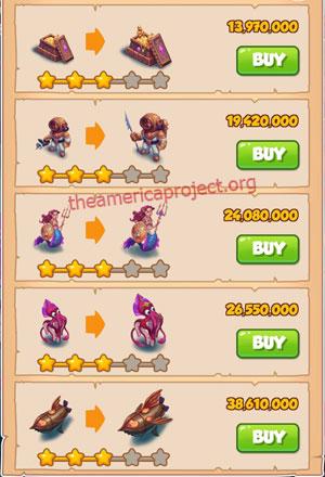 Coin Master Village 61: Deep Sea 4 Stars Price List