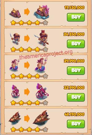 Coin Master Village 61: Deep Sea 5 Stars Price List