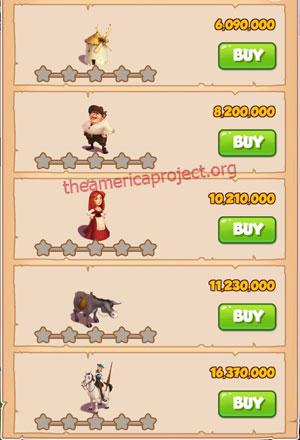 Coin Master Village 62: Don Quixote 1 Star Price List