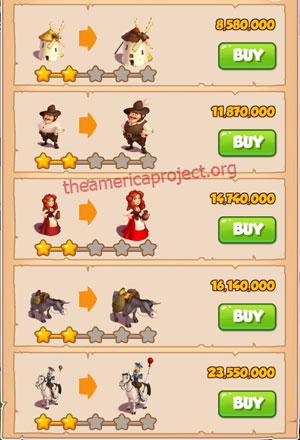 Coin Master Village 62: Don Quixote 3 Stars Price List