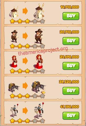 Coin Master Village 62: Don Quixote 4 Stars Price List