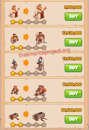 Coin Master Village 63: Colosseum 3 Stars Price List
