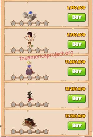 Coin Master Village 64: Cat Castle 1 Star Price List
