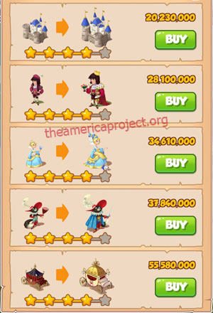 Coin Master Village 64: Cat Castle 5 Stars Price List