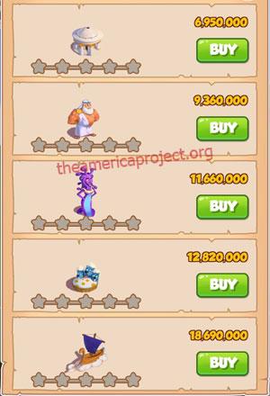 Coin Master Village 65: Olympus 1 Stars Price List