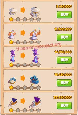 Coin Master Village 65: Olympus 2 Stars Price List