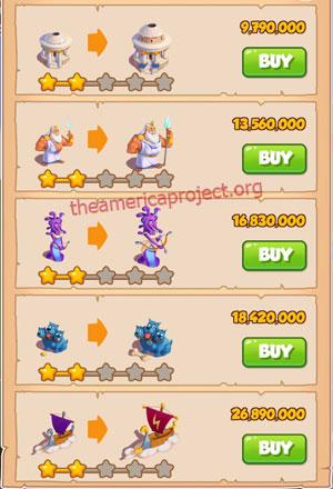 Coin Master Village 65: Olympus 3 Stars Price List