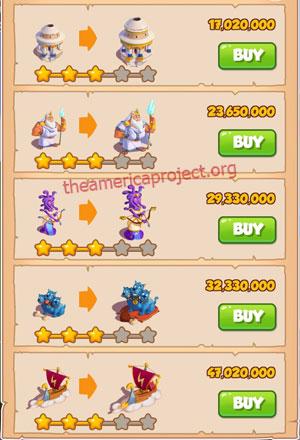 Coin Master Village 65: Olympus 4 Stars Price List