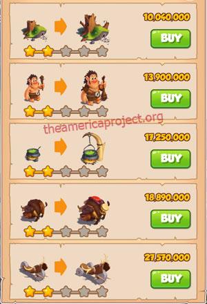 Coin Master Village 66: Trolls 3 Stars Price List
