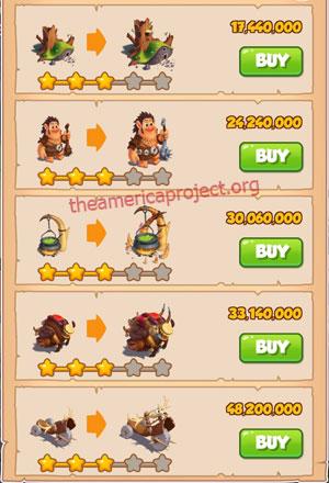 Coin Master Village 66: Trolls 4 Stars Price List