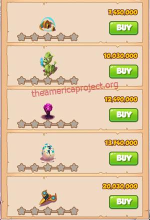 Coin Master Village 67: Aliens 1 Star Price List
