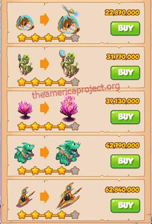 Coin Master Village 67: Aliens 5 Stars Price List