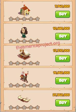 Coin Master Village 68: Da Vinci 1 Star Price List
