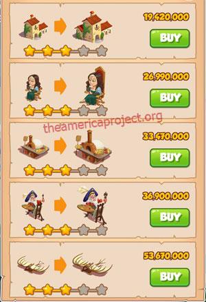 Coin Master Village 68: Da Vinci 4 Stars Price List