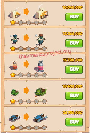 Coin Master Village 69: Sand Land 2 Stars Price List