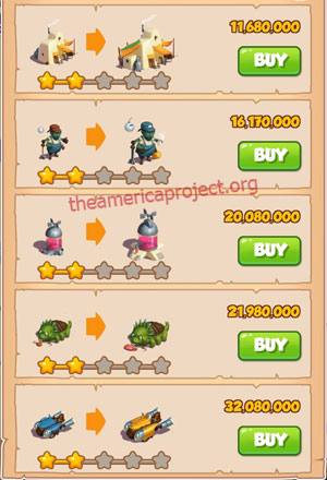 Coin Master Village 69: Sand Land 3 Stars Price List