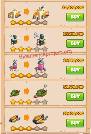 Coin Master Village 69: Sand Land 4 Stars Price List