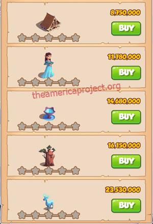 Coin Master Village 70: Elves 1 Star Price List