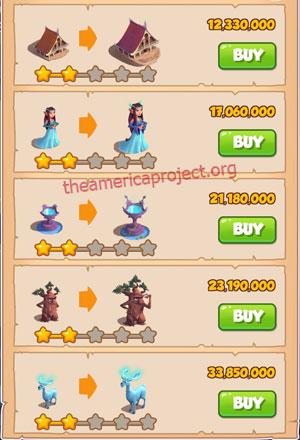 Coin Master Village 70: Elves 3 Stars Price List