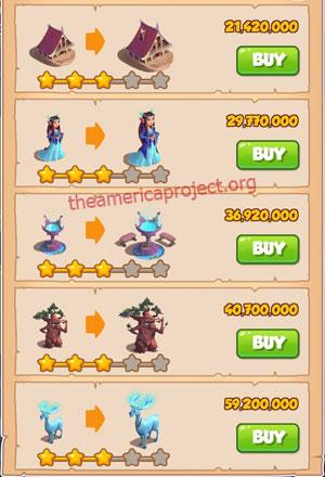 Coin Master Village 70: Elves 4 Stars Price List