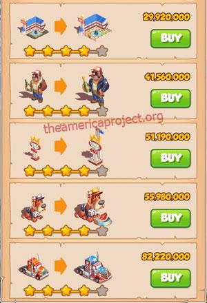 Coin Master Village 72: Truckers 5 Stars Price List