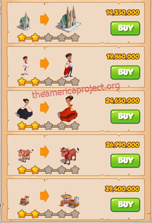 Coin Master Village 73: Spain 3 Stars Price List