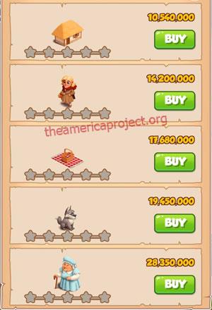Coin Master Village 74: Little Red 1 Star Price List