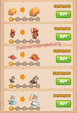 Coin Master Village 74: Little Red 2 Stars Price List