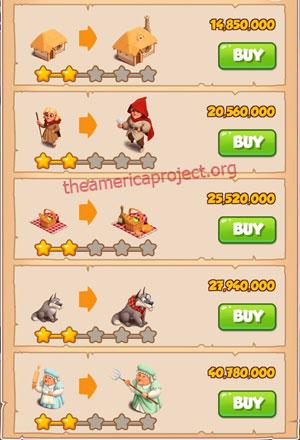 Coin Master Village 74: Little Red 3 Stars Price List