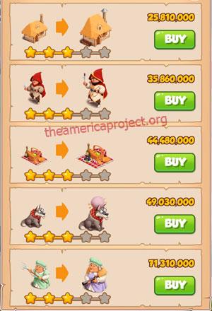 Coin Master Village 74: Little Red 4 Stars Price List