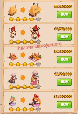 Coin Master Village 74: Little Red 5 Stars Price List