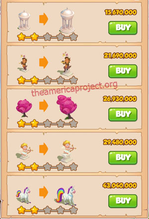 Coin Master Village 75: Unicorn 3 Stars Price List
