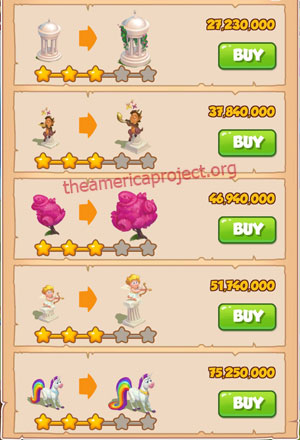 Coin Master Village 75: Unicorn 4 Stars Price List