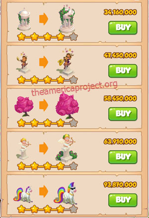 Coin Master Village 75: Unicorn 5 Stars Price List