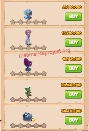 Coin Master Village 76: Scientist 1 Star Price List