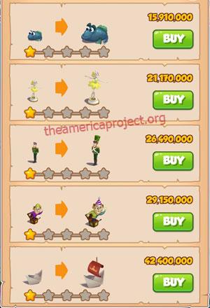 Coin Master Village 79: Tin Soldier 2 Stars Price List