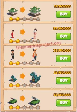 Coin Master Village 80: Crazy Bride 3 Stars Price List