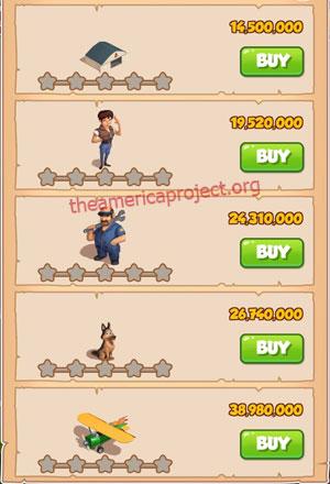 Coin Master Village 81: Pilot 1 Star Price List