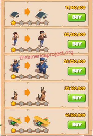 Coin Master Village 81: Pilot 2 Stars Price List