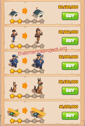 Coin Master Village 81: Pilot 3 Stars Price List