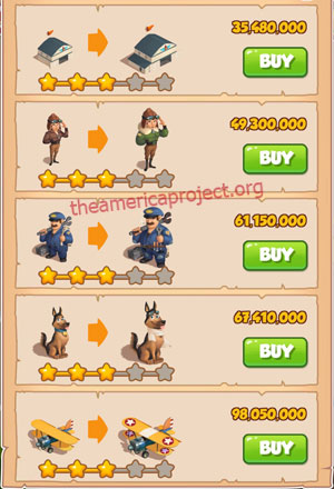 Coin Master Village 81: Pilot 4 Stars Price List