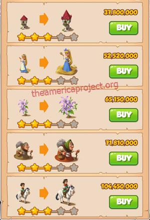 Coin Master Village 82: Fairy Tale 4 Stars Price List