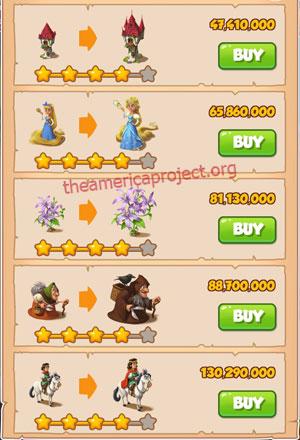 Coin Master Village 82: Fairy Tale 5 Stars Price List